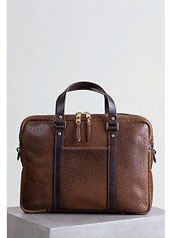 Coronado Bison Leather Briefcase with Concealed Carry Pocket