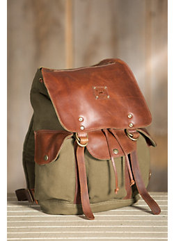 Lennon Canvas Backpack with Leather Trim