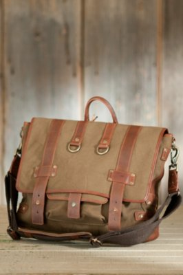 Will Hopper Canvas Messenger Bag with Leather Trim