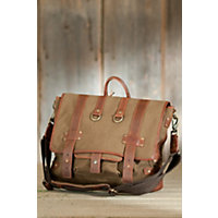 Hopper Canvas Messenger Bag With Leather Trim, Tobacco / Saddle Western & Country