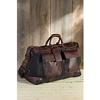 Traveler Canvas And Leather Duffel Bag, Black / Brown Western & Country
