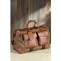 Traveler Canvas And Leather Duffel Bag, Tobacco / Saddle Western & Country