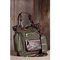 Liverpool Canvas And Leather Tote Bag, Loden / Brown Western & Country