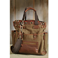 Liverpool Canvas And Leather Tote Bag, Tobacco / Saddle Western & Country