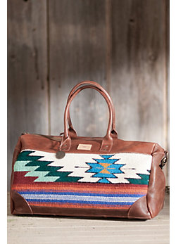 Oaxacan Hand-Woven Wool and Leather Duffel Bag