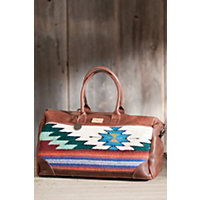 Oaxacan Hand-Woven Wool And Leather Duffel Bag Western & Country