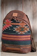 Oaxacan Hand-Woven Wool and Leather Backpack