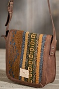 Oaxacan Hand-Woven Wool and Leather Crossbody Bag