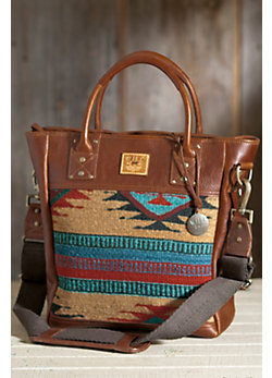 Oaxacan Hand-Woven Wool and Leather Tote Bag