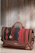 Oaxacan Hand-Woven Wool and Leather Messenger Bag