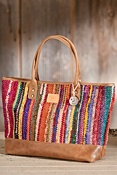 Woven Indian Silk and Leather Tote Bag