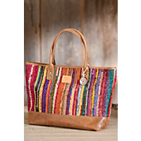 Woven Indian Silk And Leather Tote Bag Western & Country