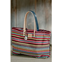 Weaver'S House Reversible Cotton Canvas Tote Bag, Red Multi Western & Country