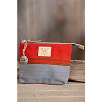 Weaver'S House Cotton Canvas Zip Pouch, Orange Multi Western & Country