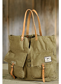 Canvas Army Tote with Leather Handles