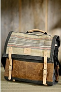 Pha Sin Jute Canvas and Leather Messenger Bag