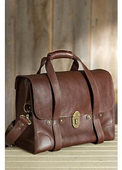 Everett Vintage Leather Satchel with Strap