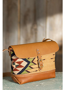 Oaxacan Hand-Woven Wool and Leather Buckled Crossbody Bag