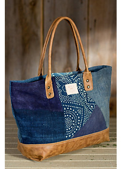 Women's Batik Patchwork Tote Bag