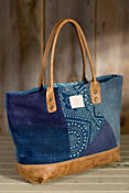 Will Batik and Leather Patchwork Tote Bag