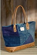 Women's Batik and Leather Patchwork Tote Bag