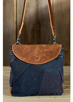 Women's Batik and Leather Patchwork Crossbody Handbag