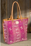 Women's Reversible Quilted Silk Tote Bag