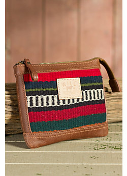 Oaxacan Hand-Woven Wool and Leather Pouch