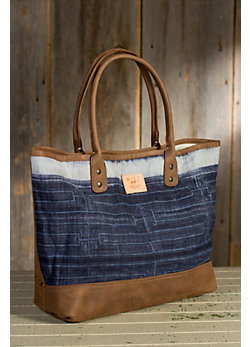 Women's Indigo Batik Leather Tote Bag