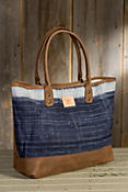 Will Indigo Batik Leather Tote Bag