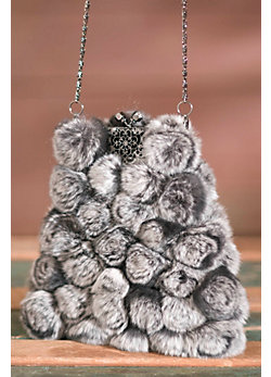 Women's Rabbit Fur Rosette Handbag