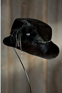 Women's Canadian Mink Fur Hat with Rhinestone Trim