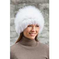 Knitted Silver Fox Fur Hat WHITE Size 1 Size $299.00 AT vintagedancer.com