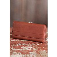 Women's Deluxe Framed Leather Clutch Wallet, BRANDY