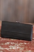 Women's Deluxe Framed Leather Clutch Wallet