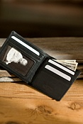 ID Thin Fold Leather Wallet