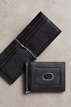 Money Clip Leather Wallet with ID Window and RFID Protection