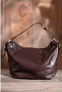 Zip Top Floppy Leather Handbag