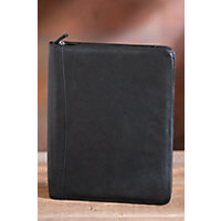 Zip File Leather Folio, Black Western & Country