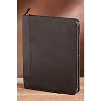 Zip File Leather Folio, Mocha Western & Country