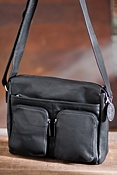Dual-Pocket Zip Leather Messenger Bag