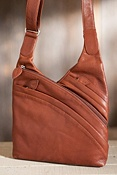 Women's Rose Triple-Zip Leather Cross-body Handbag