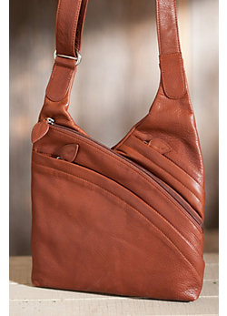 Women's Rose Triple-Zip Leather Crossbody Handbag