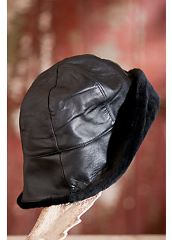Glouster Lambskin Leather Cloche Hat