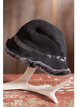 Women's Annie Shearling Sheepskin Hat with Leather Trim