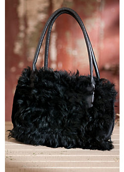 Women's Curly Lamb Fur Handbag with Leather Trim