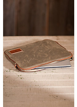 Waxed Cotton Laptop Sleeve with Leather Trim