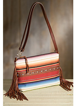 Patricia Wolf Vidor Serape and Leather Clutch Handbag