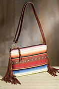 Vidor Serape and Leather Clutch Handbag
