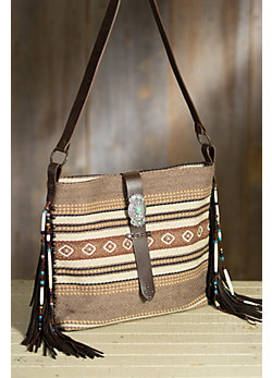 Red River Blanket Cotton and Leather Tote Bag